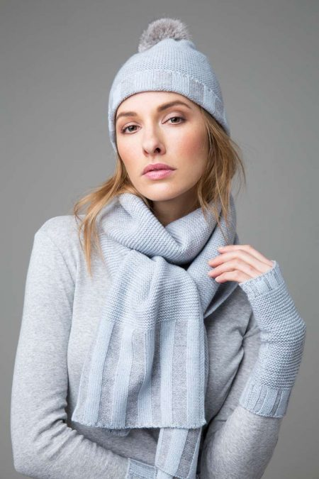 Plaited Hat, Scarf, & Fingerless Gloves- Kinross Cashmere