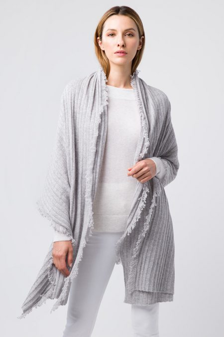 Textured Fringe Wrap - Kinross Cashmere