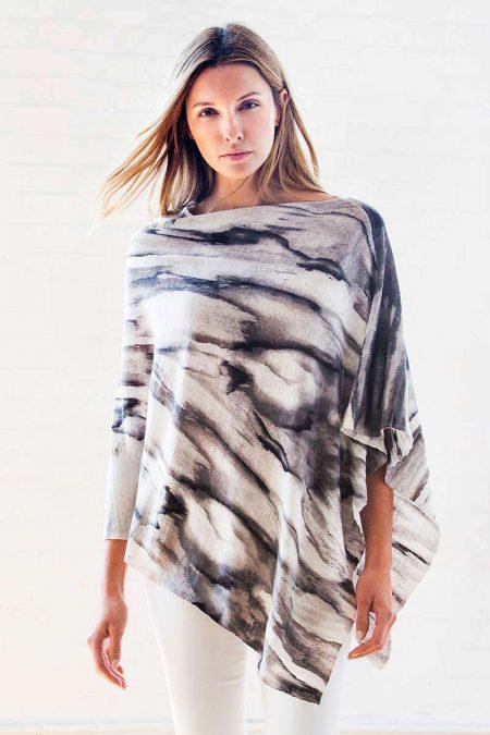 Waterfall Print Poncho Kinross Cashmere 100% Cashmere