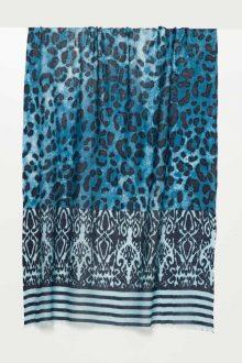 Leopard Ikat Print Scarf - Kinross Cashmere
