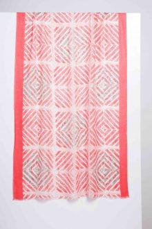 Mediterranean Tile Print Scarf - Camellia - Kinross Cashmere