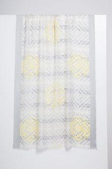 Mediterranean Tile Print Scarf - Limoncello - Kinross Cashmere