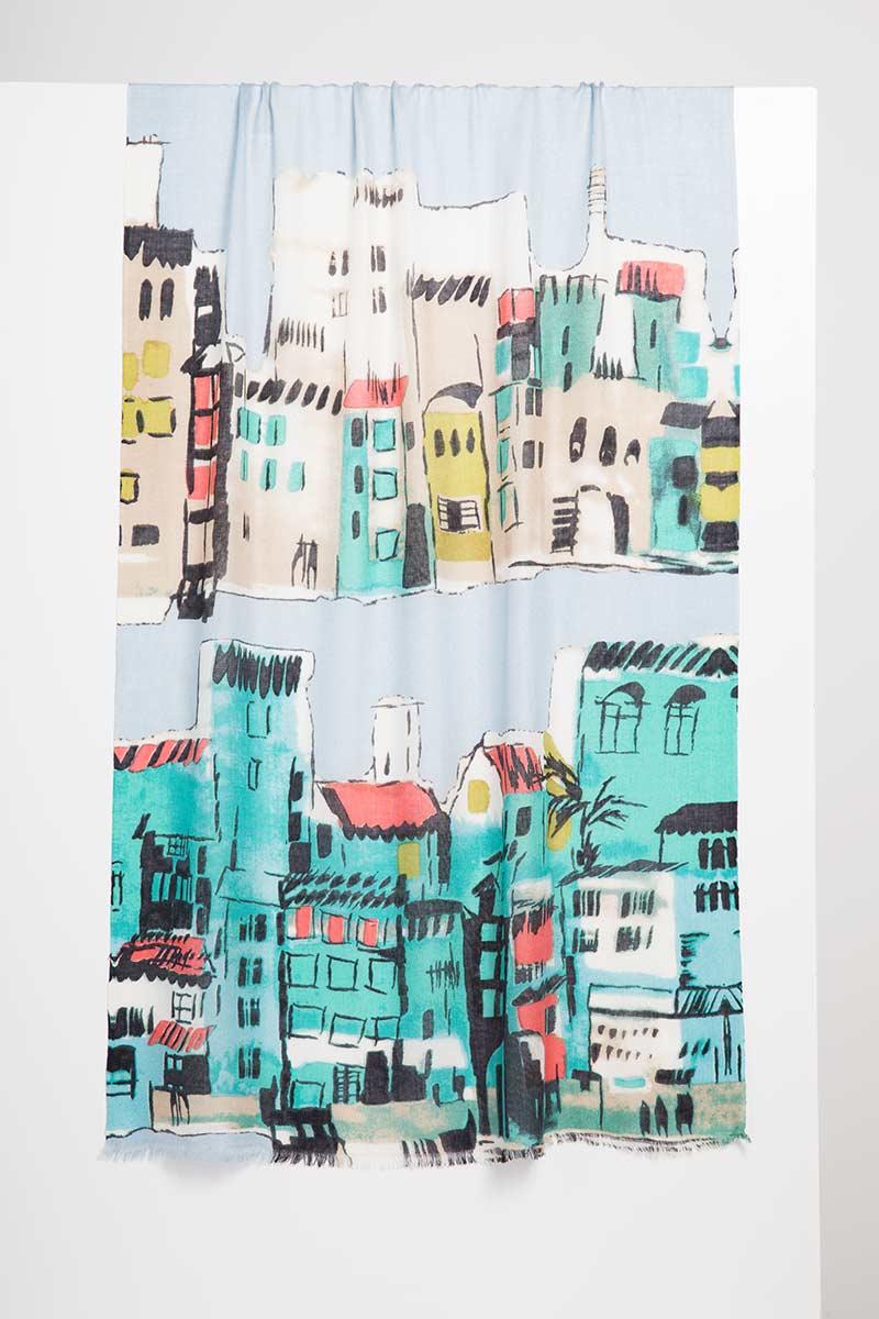 Cinque Terra Print Scarf - Kinross Cashmere