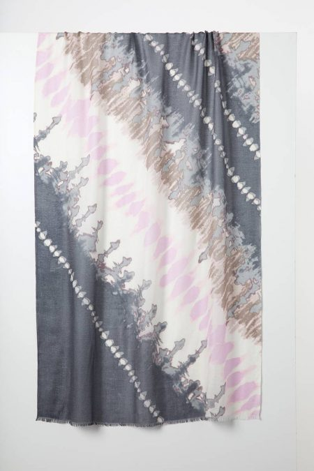 Tie Dye Print Scarf - Fossil Multi - Kinross Cashmere