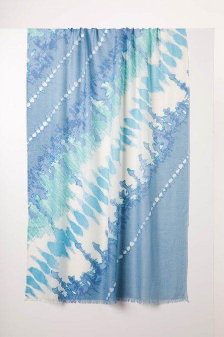 Tie Dye Print Scarf - Opal Multi - Kinross Cashmere