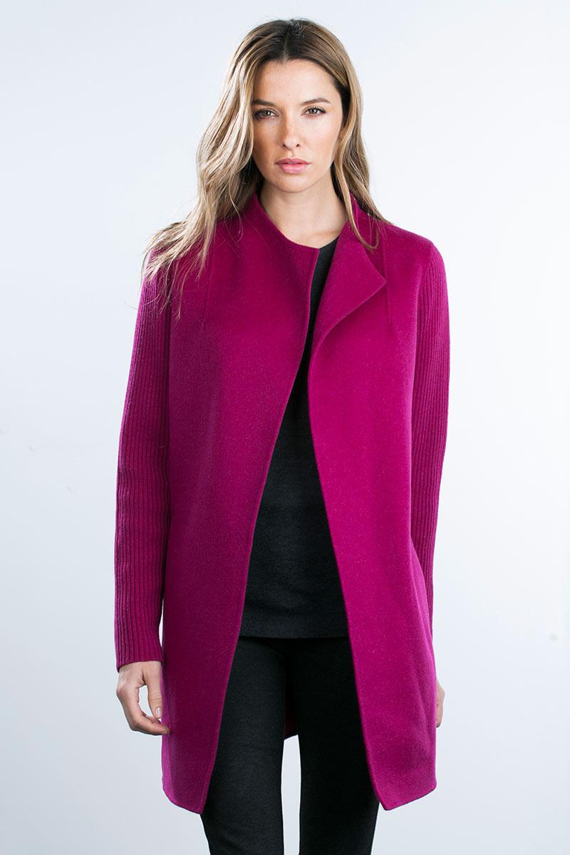 Kinross Cashmere | Rib Sleeve Woven Coat