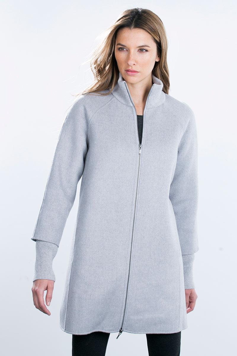 Kinross Cashmere | Zip Mockneck Coat w/ Rib Detail