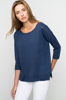 Kinross Cashmere | Spring 2016 | 3/4 Sleeve Relaxed High/Low Pullover