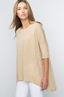 Kinross Cashmere | Spring 2016 | 3/4 Sleeve Exaggerated High/Low Pullover