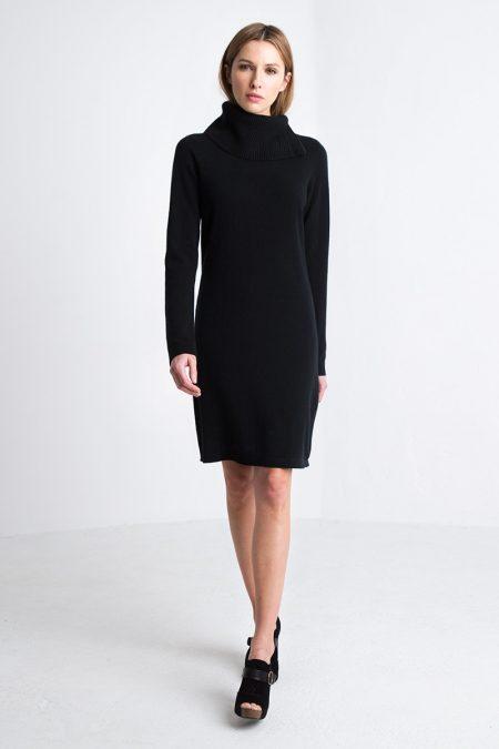 Chunky T-neck Dress Kinross Cashmere 100% Cashmere