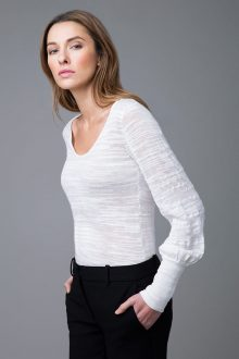 Thick and Thin Scoop Neck - Kinross Cashmere