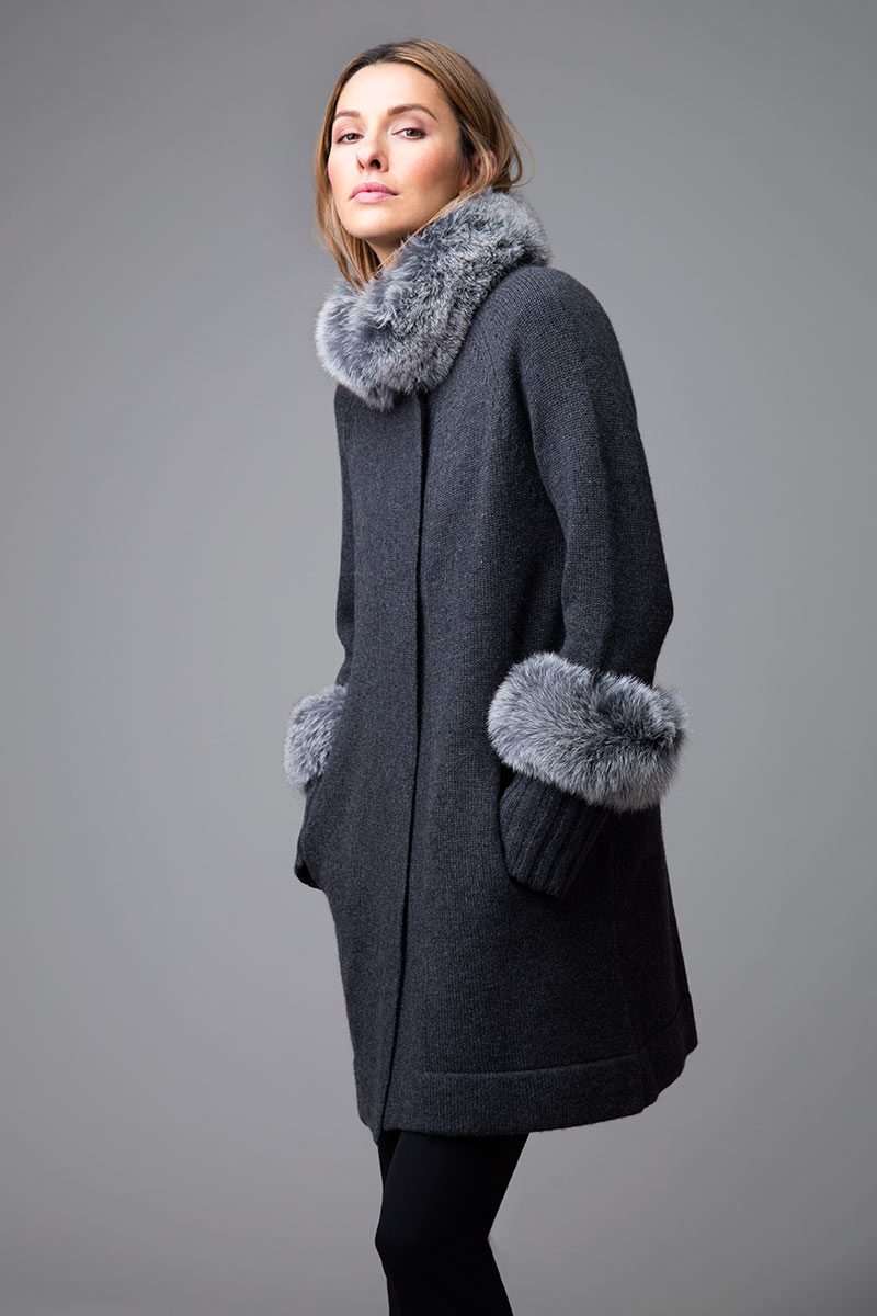 Fur Trim Swing Coat - Kinross Cashmere