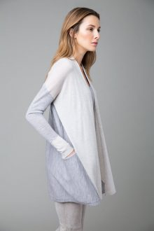 Worsted Colorblock Cardigan - Kinross Cashmere