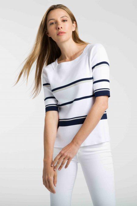 Stripe Square Neck Pullover - Kinross Cashmere