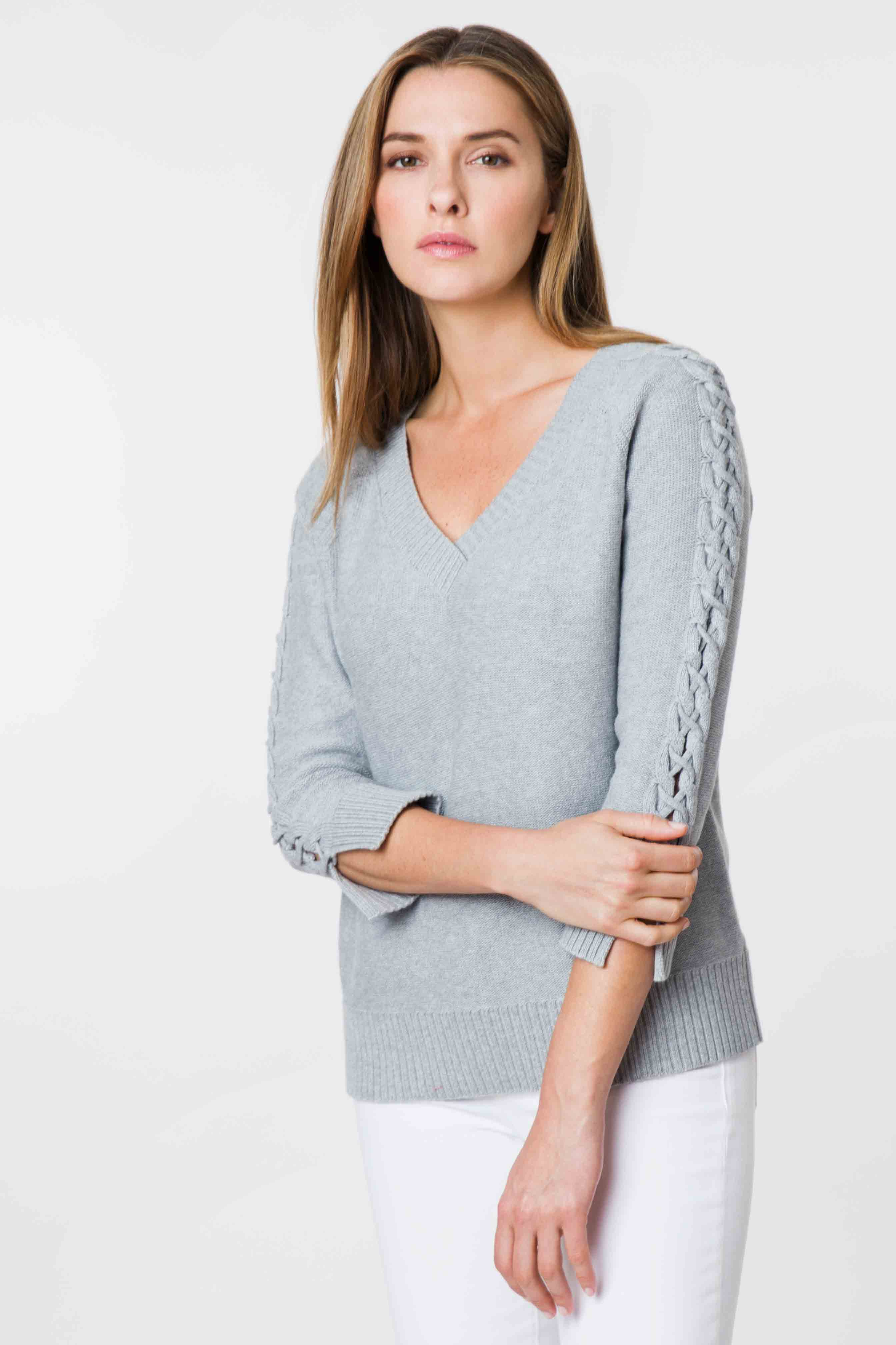 Cable Sleeve Pullover - Kinross Cashmere