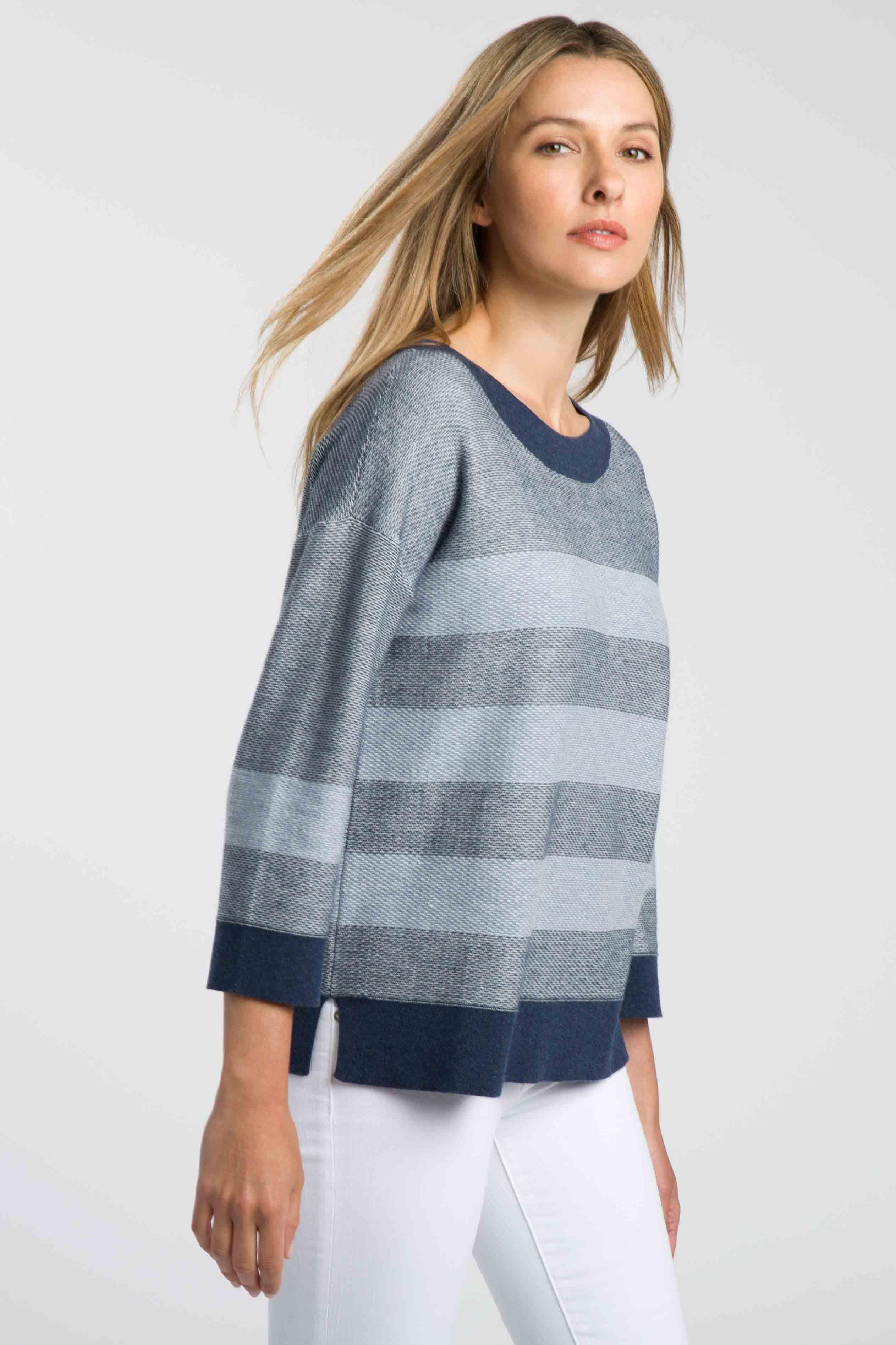 Texture Stripe Pullover - Kinross Cashmere