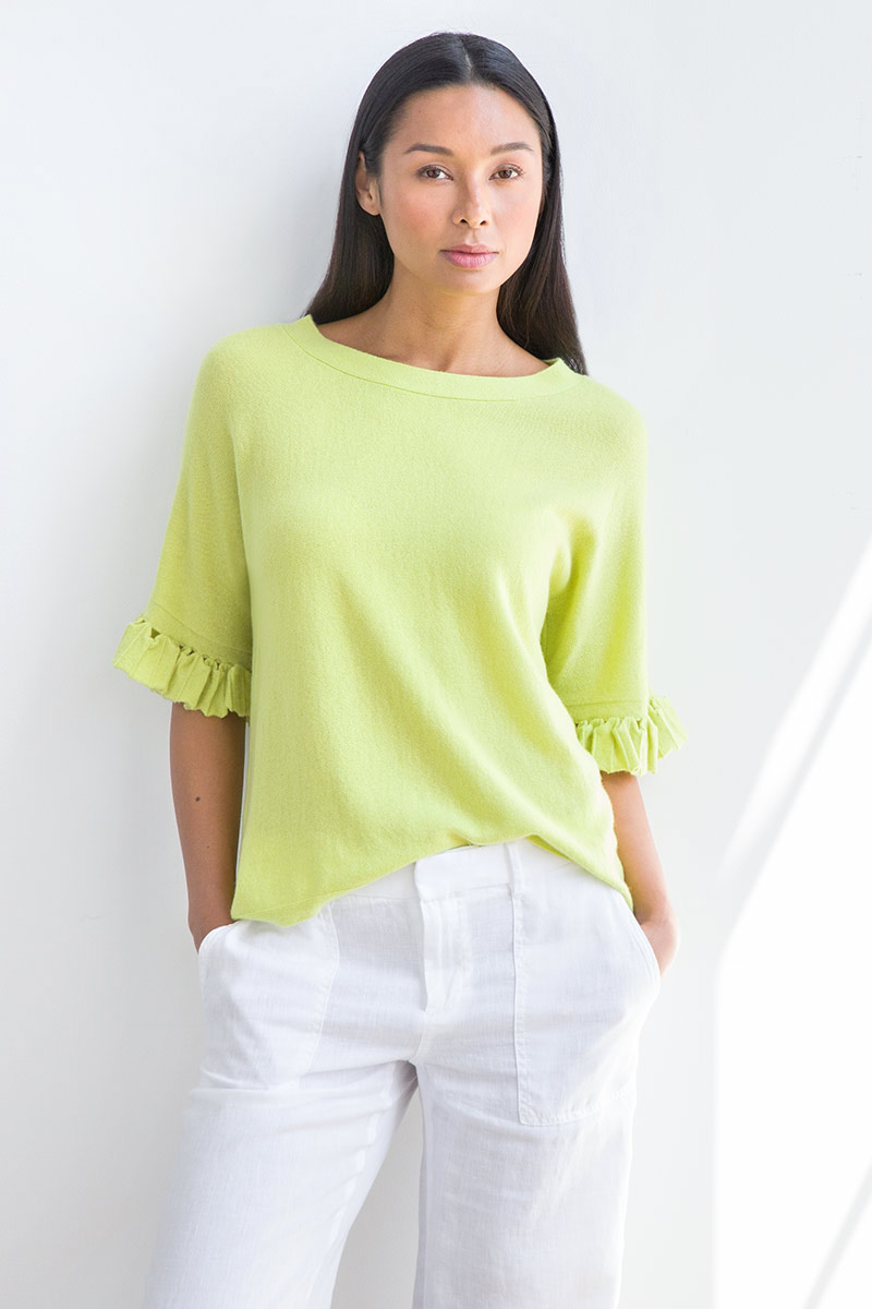 Pleat Sleeve Pullover - Kinross Cashmere