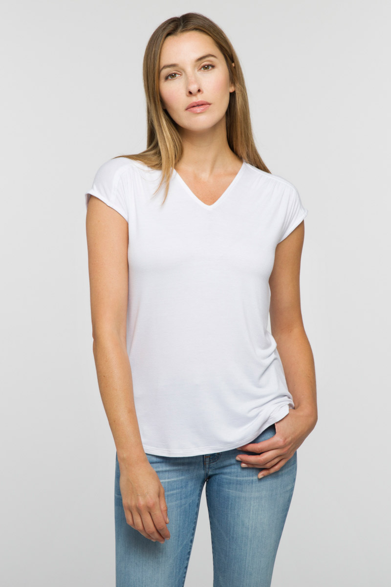 Gathered Shoulder Tee - Kinross Cashmere
