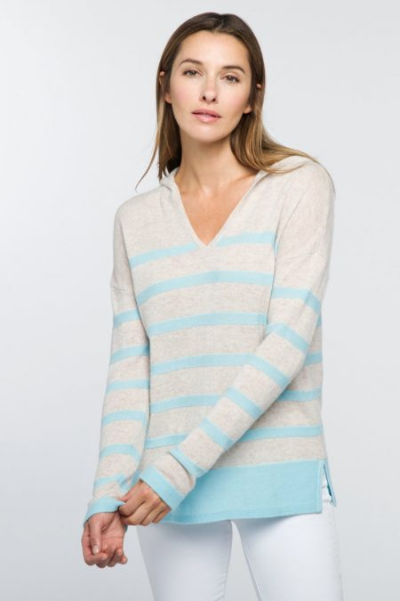 Stripe Pullover Hoodie - Kinross Cashmere