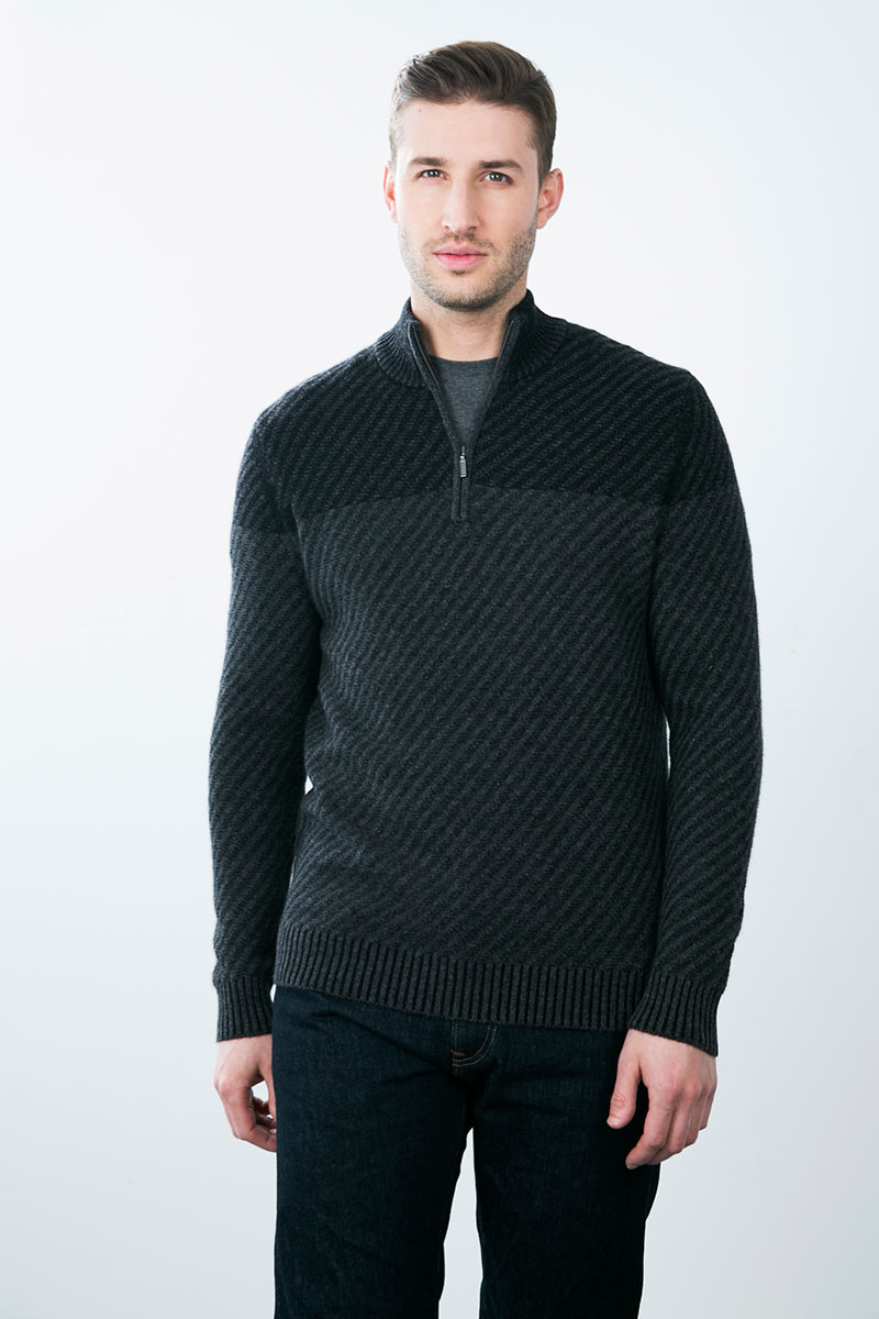 Kinross Cashmere | Plaited Diagonal 1/4 Zip Mockneck