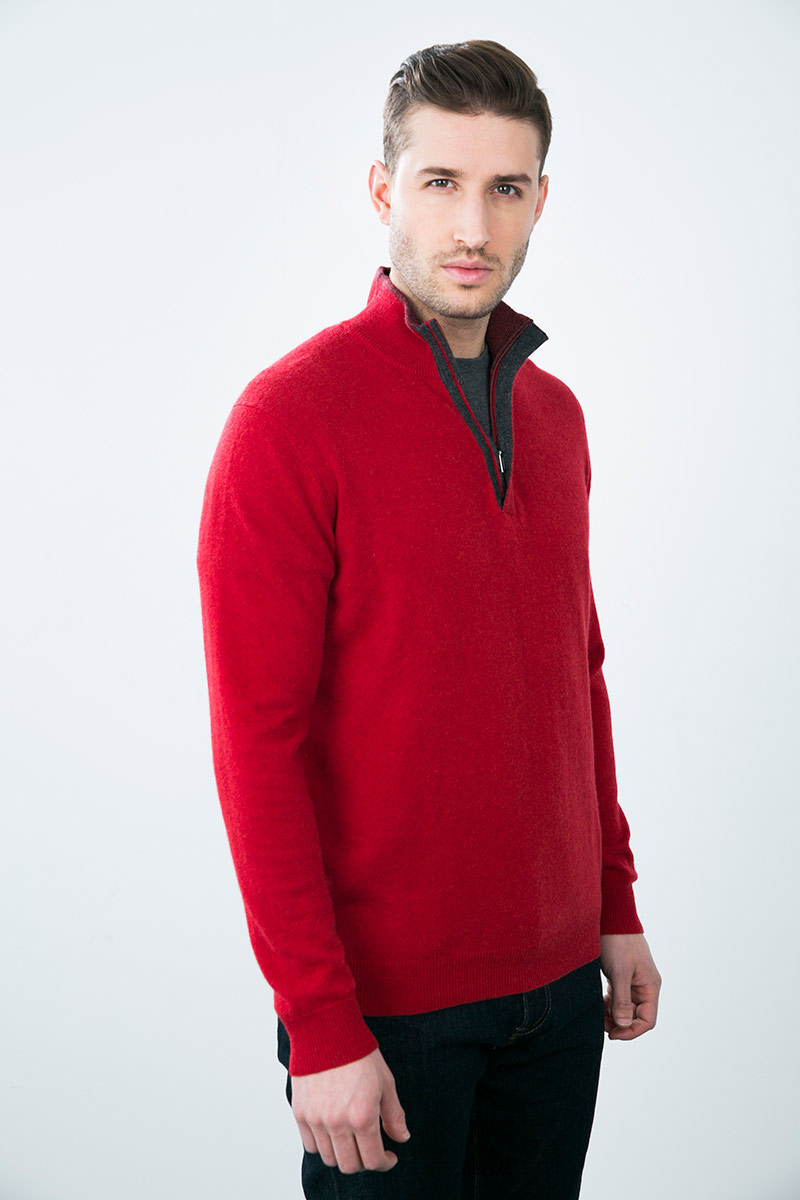 Kinross Cashmere | Men's Tipped 1/4 Zip Mockneck