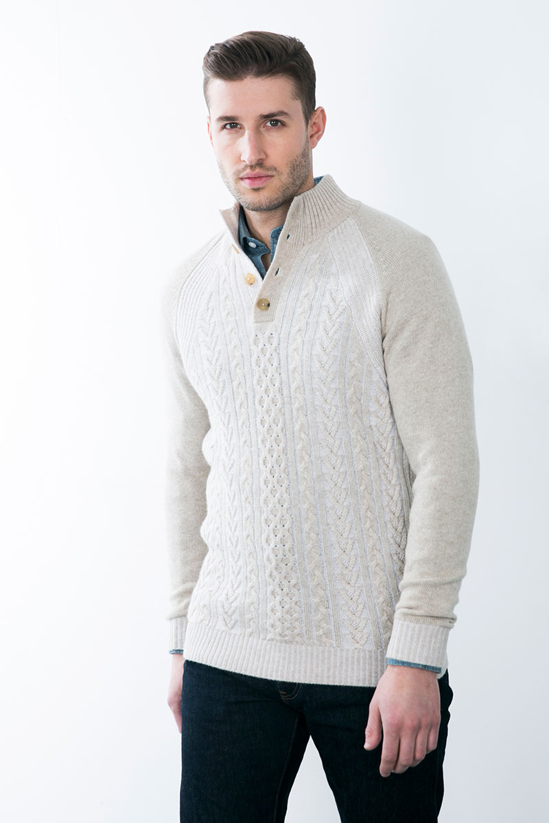 Kinross Cashmere | Plaited Cable Button Mockneck
