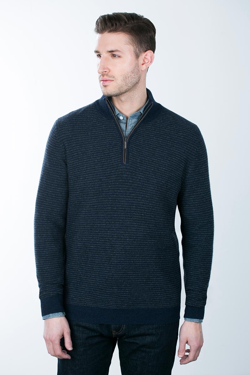 Kinross Cashmere | Striped Garter Stitch 1/4 Zip Mockneck