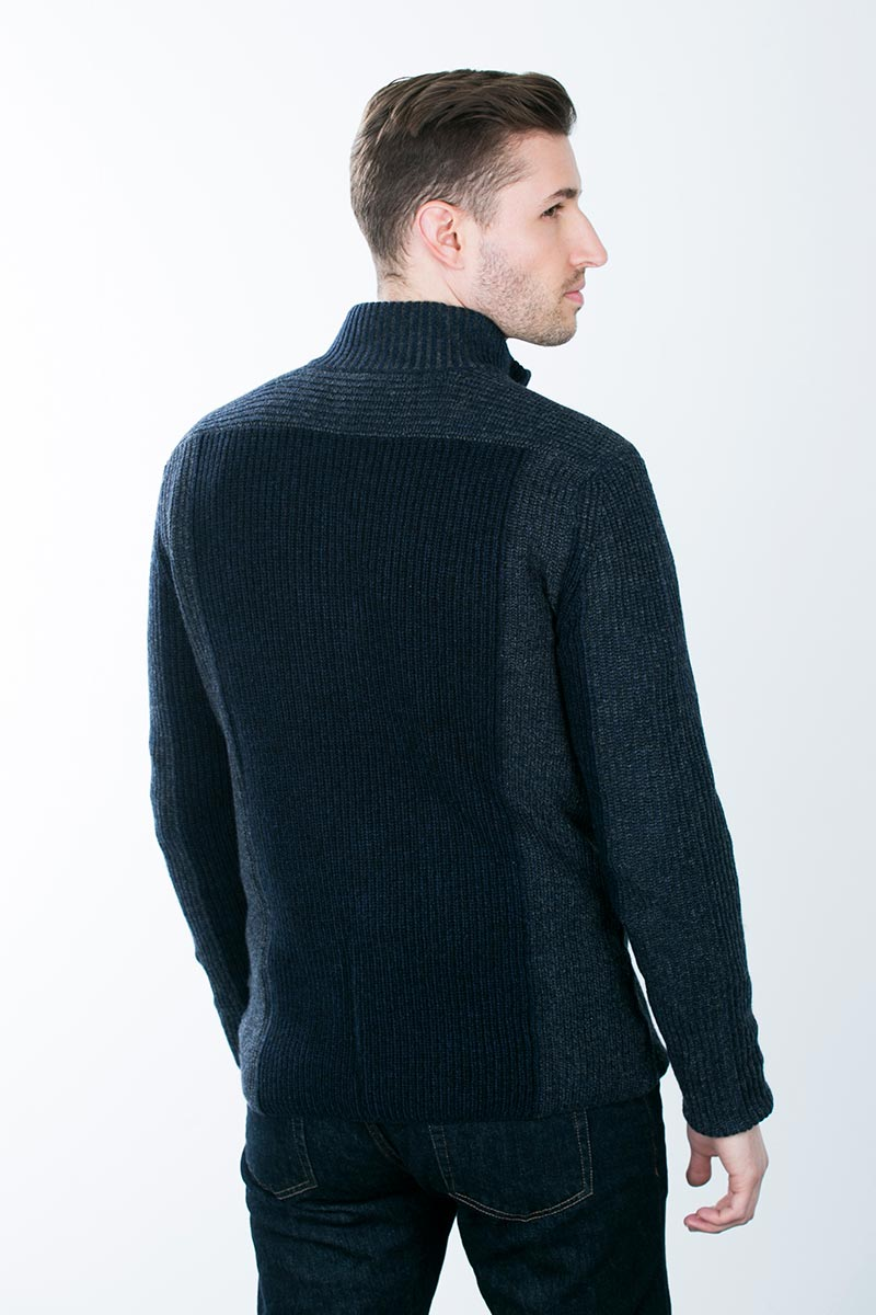 Kinross Cashmere | Plaited Tonal Colorblock Zip Cardigan