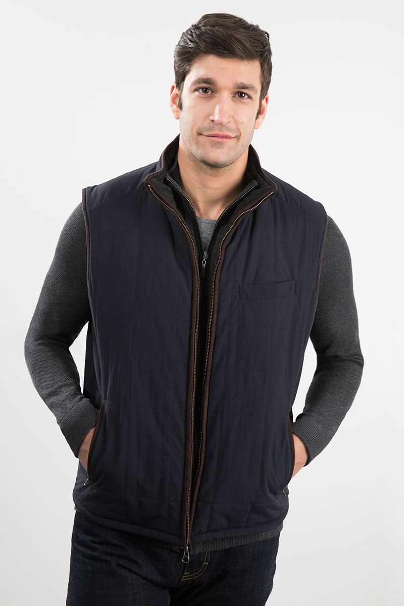 Quilted Knit Full Zip Reversible Vest W/ Suede Trim Kinross Cashmere