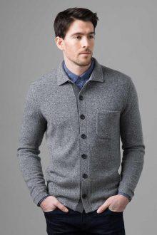 Marled Shirt Cardigan - Kinross Cashmere