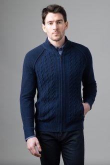 Plaited Cable Zip Mock Cardigan - Kinross Cashmere