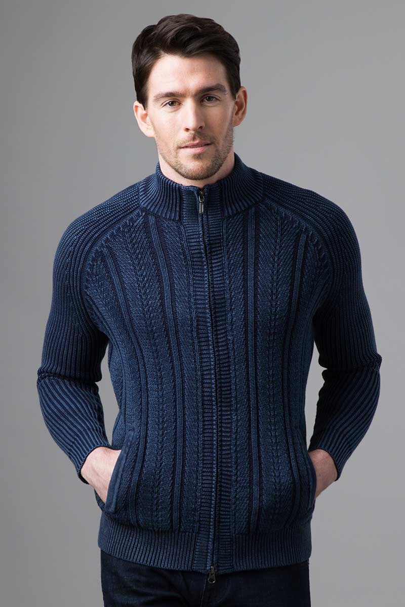 Rib & Cable Zip Mock Cardigan - Kinross Cashmere